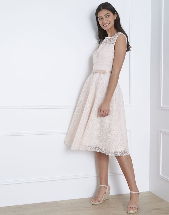 Honorine powder pink lace dress with belt (2) - Maison 123