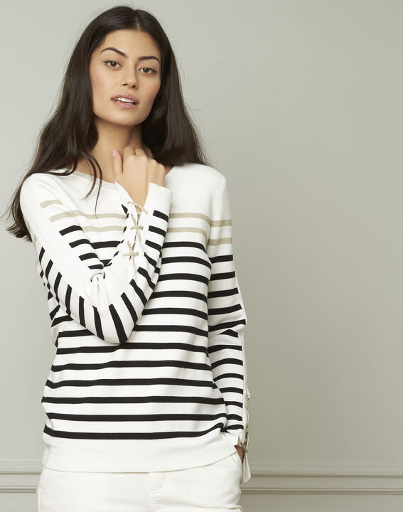 Amiral pullover with stripes and lacing details (1) - Maison 123