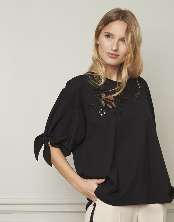 Phuket fancy black T-shirt with tie sleeves  (1) - Maison 123