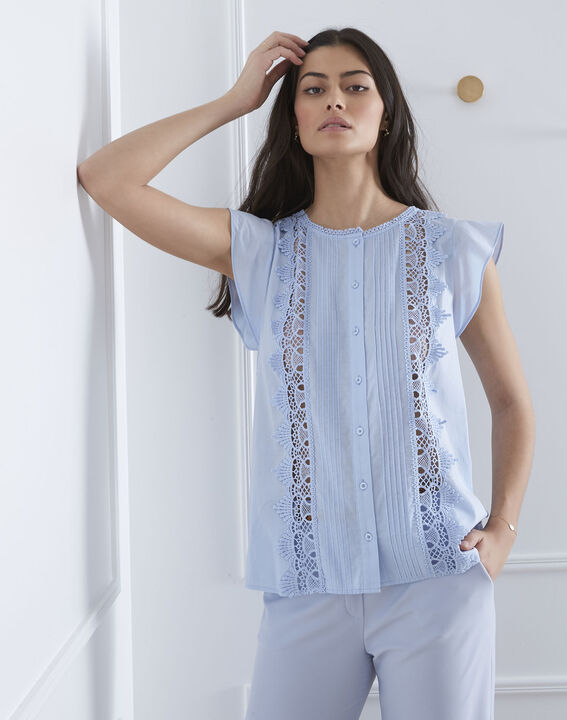 Veil sky blue frilled top PhotoZ | 1-2-3