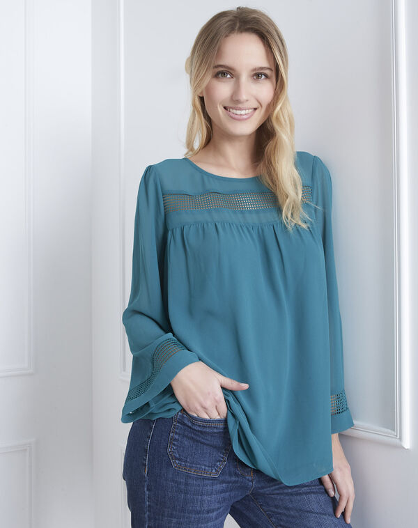 7aff2566df9cb Verana green blouse with lace insert