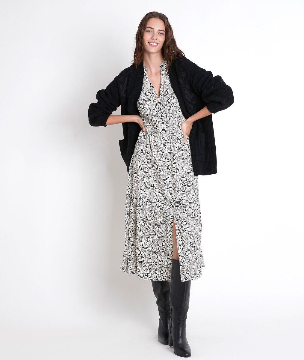 CAROLA ecru printed maxi dress PhotoZ | 1-2-3