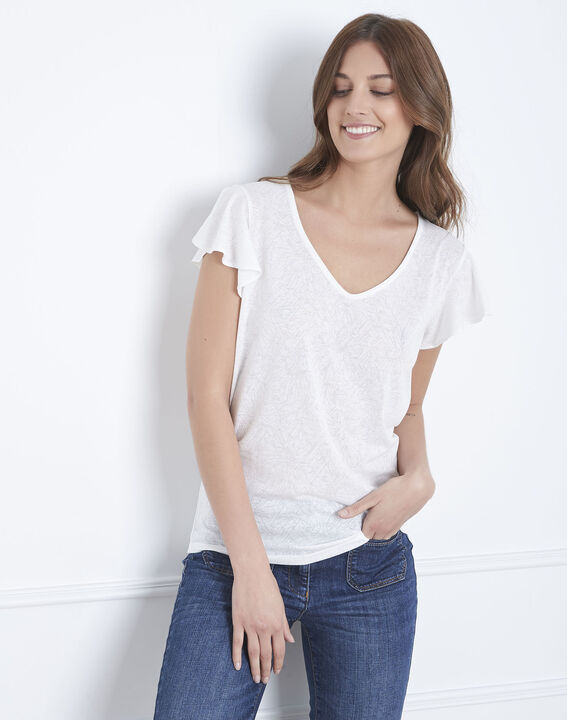 Palma ecru ruffled t-shirt (1) - Maison 123