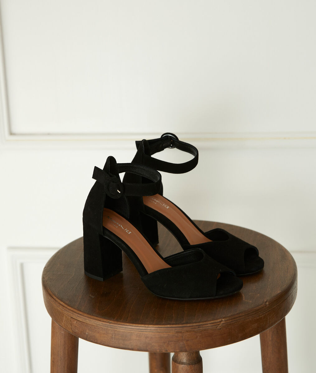 Jade black leather high-heeled sandals PhotoZ | 1-2-3