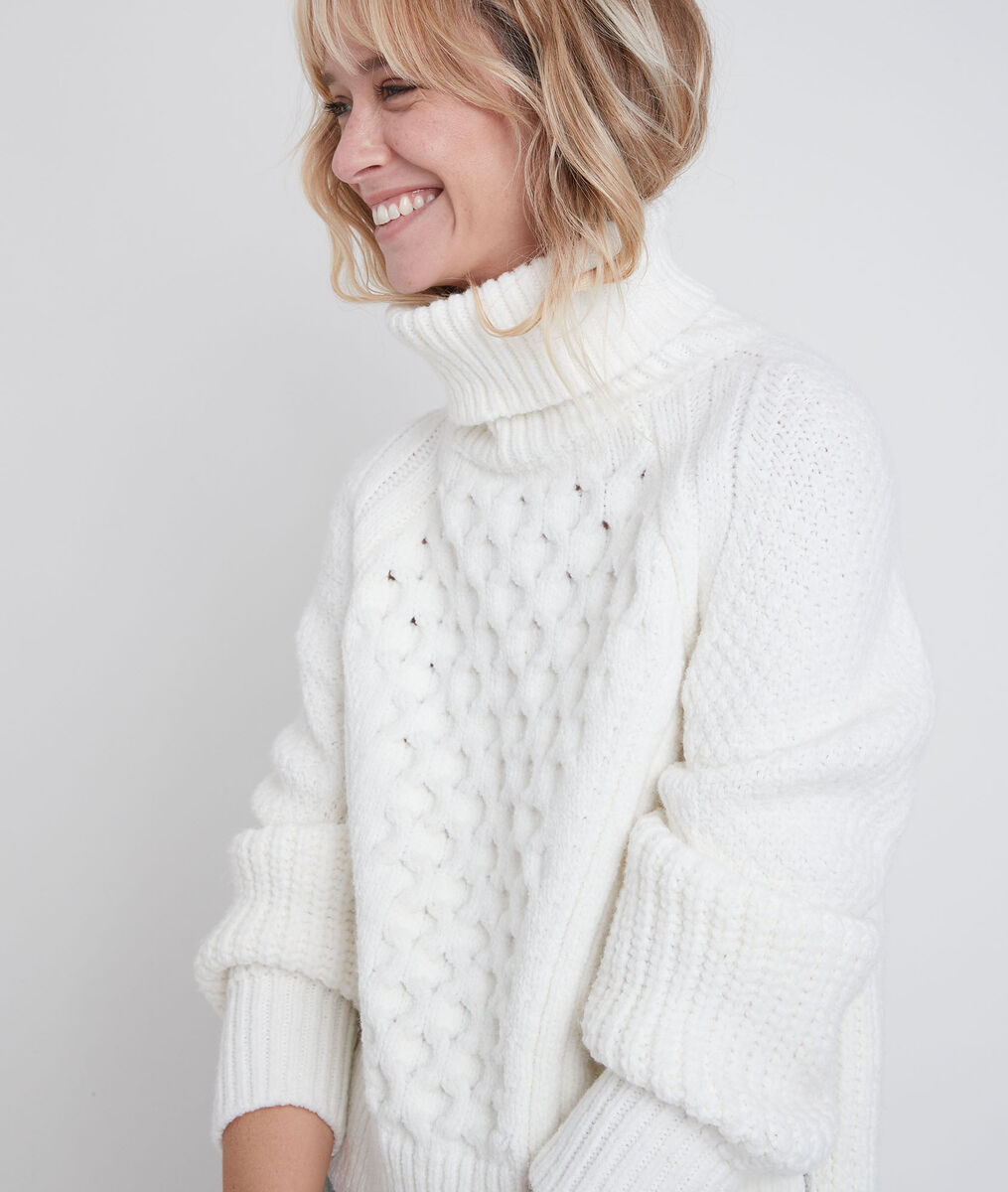 Remy polo neck cable knit pullover PhotoZ | 1-2-3