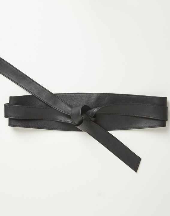 Raul wide tie belt in black leather PhotoZ | 1-2-3