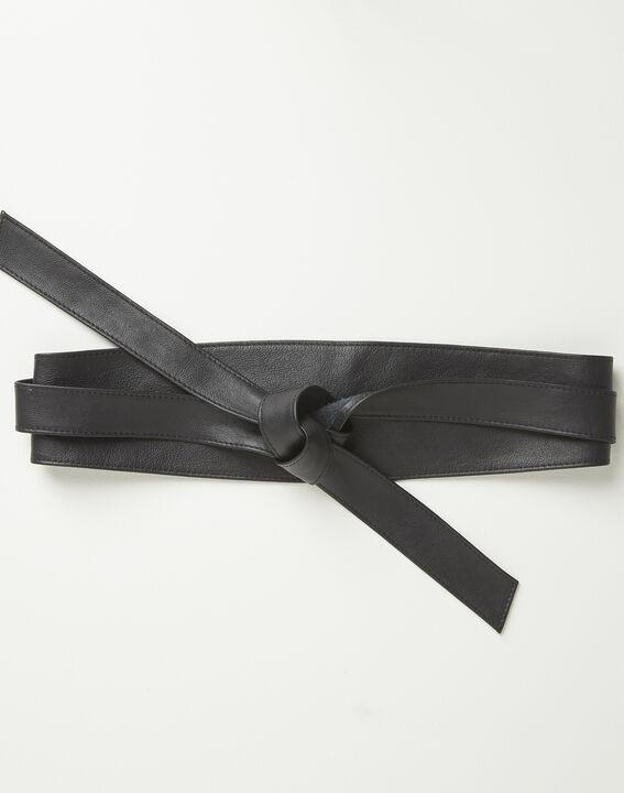 Raul wide tie belt in black leather (1) - Maison 123