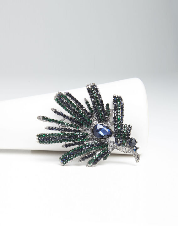 Xylo spike brooch with dark green stones PhotoZ | 1-2-3