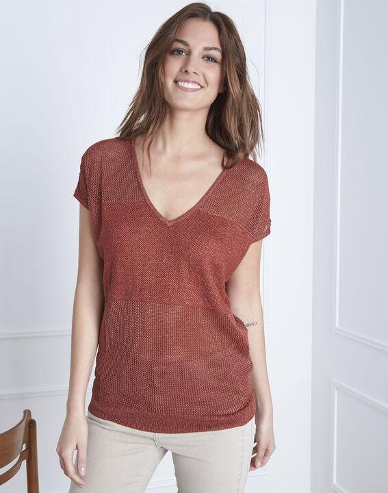 Beige sweater with Amande lurex V-neck PhotoZ | 1-2-3