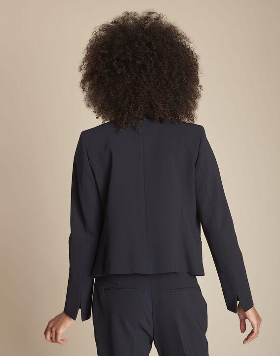 Charme navy microfibre and grosgrain jacket (4) - Maison 123