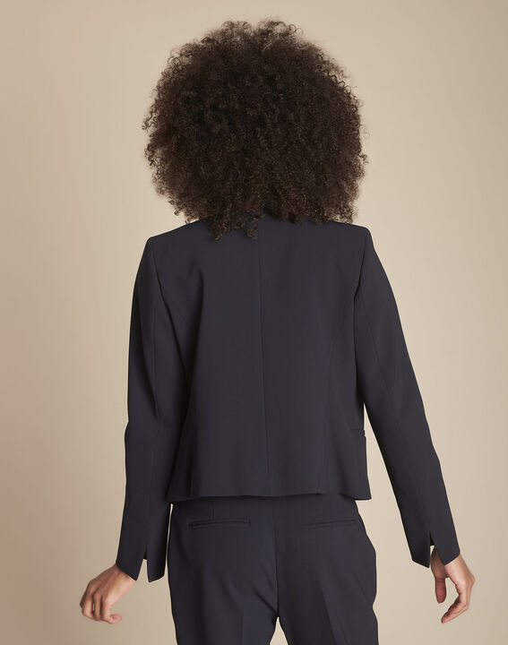Charme navy microfibre and grosgrain jacket (4) - Maison 123