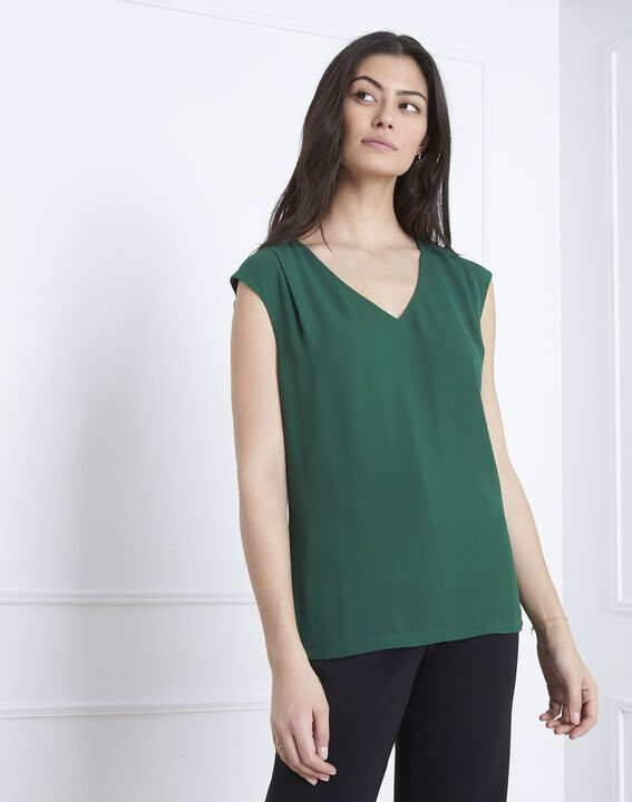 Neptune green bi-material V-neck blouse PhotoZ | 1-2-3