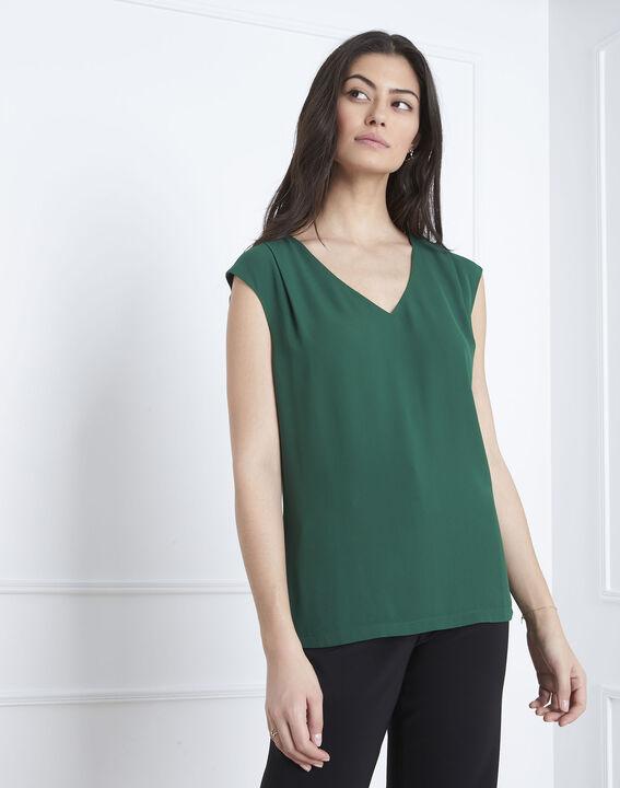 Neptune green bi-material V-neck blouse (1) - Maison 123