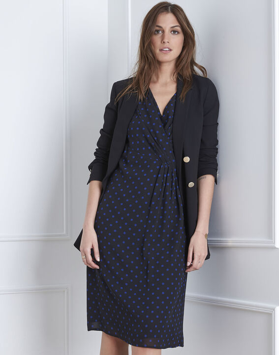"""Lovely"" dotted navy wrap dress (2) - Maison 123"