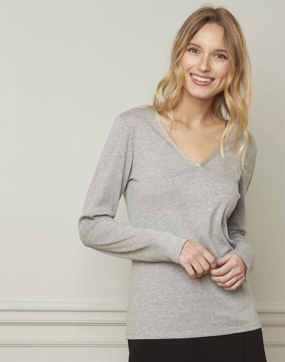 Etincelante grey lurex V-neckline T-shirt (1) - Maison 123