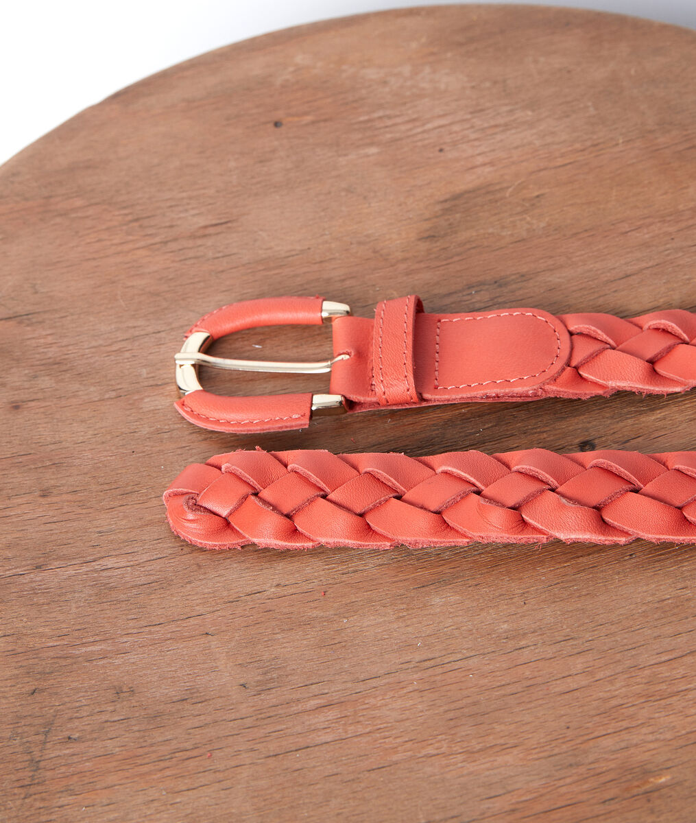 Swan guava-coloured leather braid belt PhotoZ | 1-2-3
