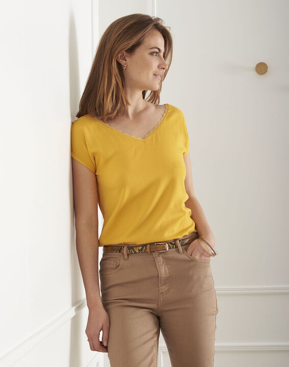 Passion yellow T-shirt with lace neckline PhotoZ | 1-2-3