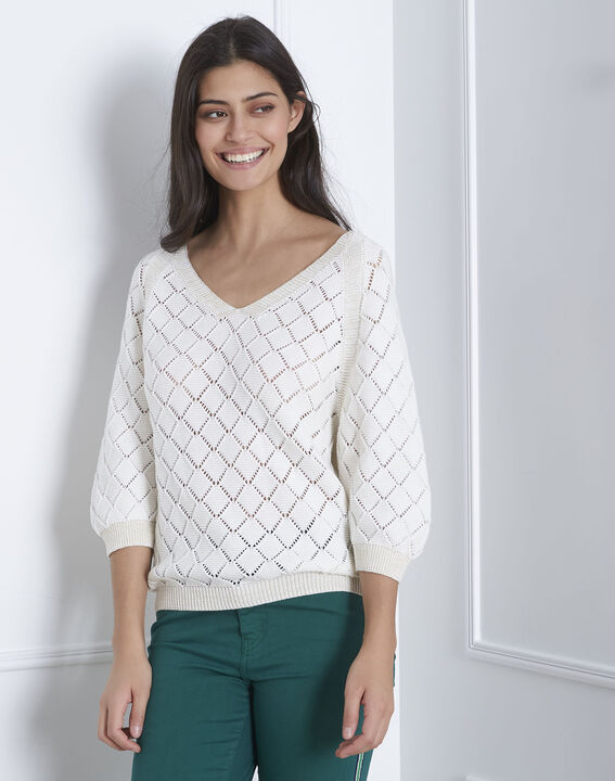 Aquarelle cream openwork pullover PhotoZ | 1-2-3