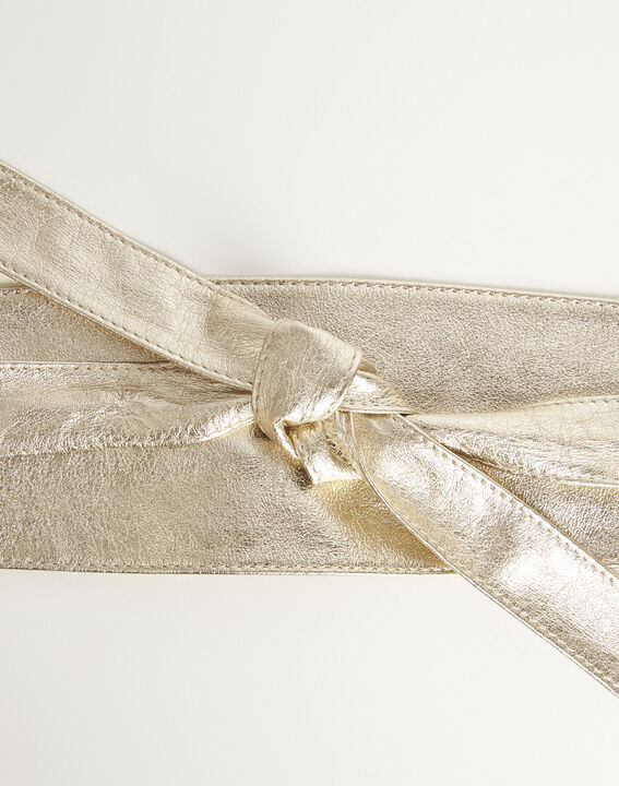 Raul wide tie belt in gold leather (2) - Maison 123