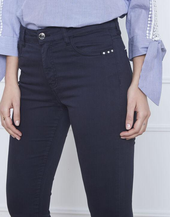 Vendome navy slim-fit 7/8-length sateen jeans (4) - Maison 123