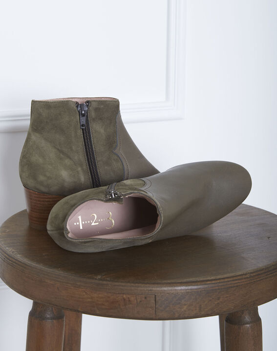 Kendal khaki dual-material ankle boots with heels (2) - Maison 123