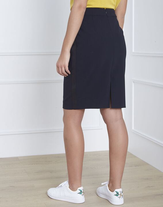 Fancy straight-cut navy skirt with microfibre side stripe (4) - Maison 123