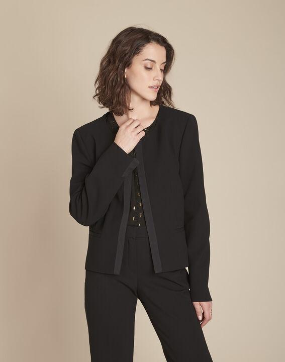 Charme black microfibre and grosgrain jacket (1) - Maison 123