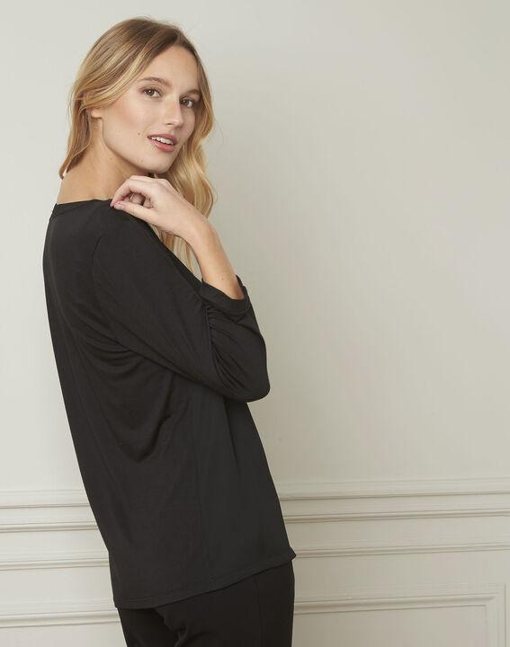 Vassilia henley collar black lurex blouse (3) - Maison 123