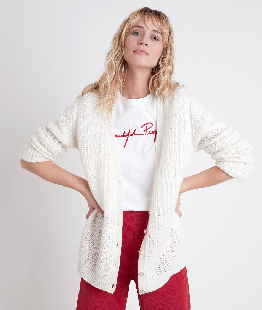 ANDREA cream decorative knit cardigan PhotoZ | 1-2-3