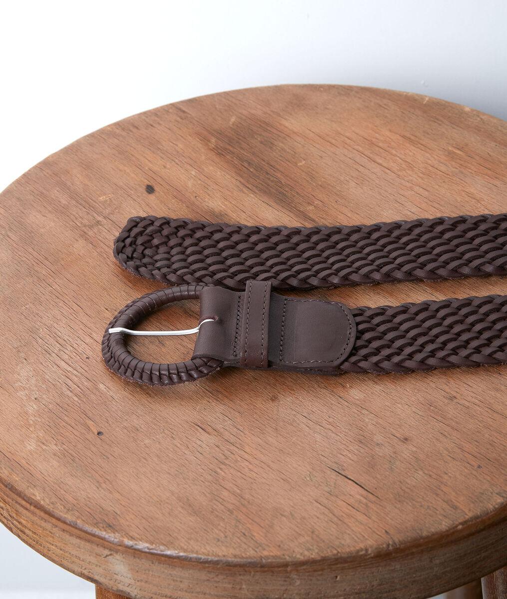Sandie chocolate-coloured leather braid belt PhotoZ | 1-2-3