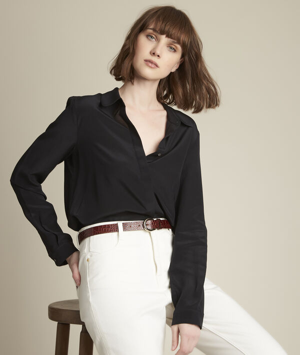 Maelle black silk shirt PhotoZ | 1-2-3