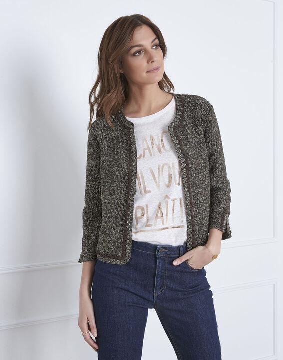 Amour khaki decorative knit cardigan (2) - Maison 123