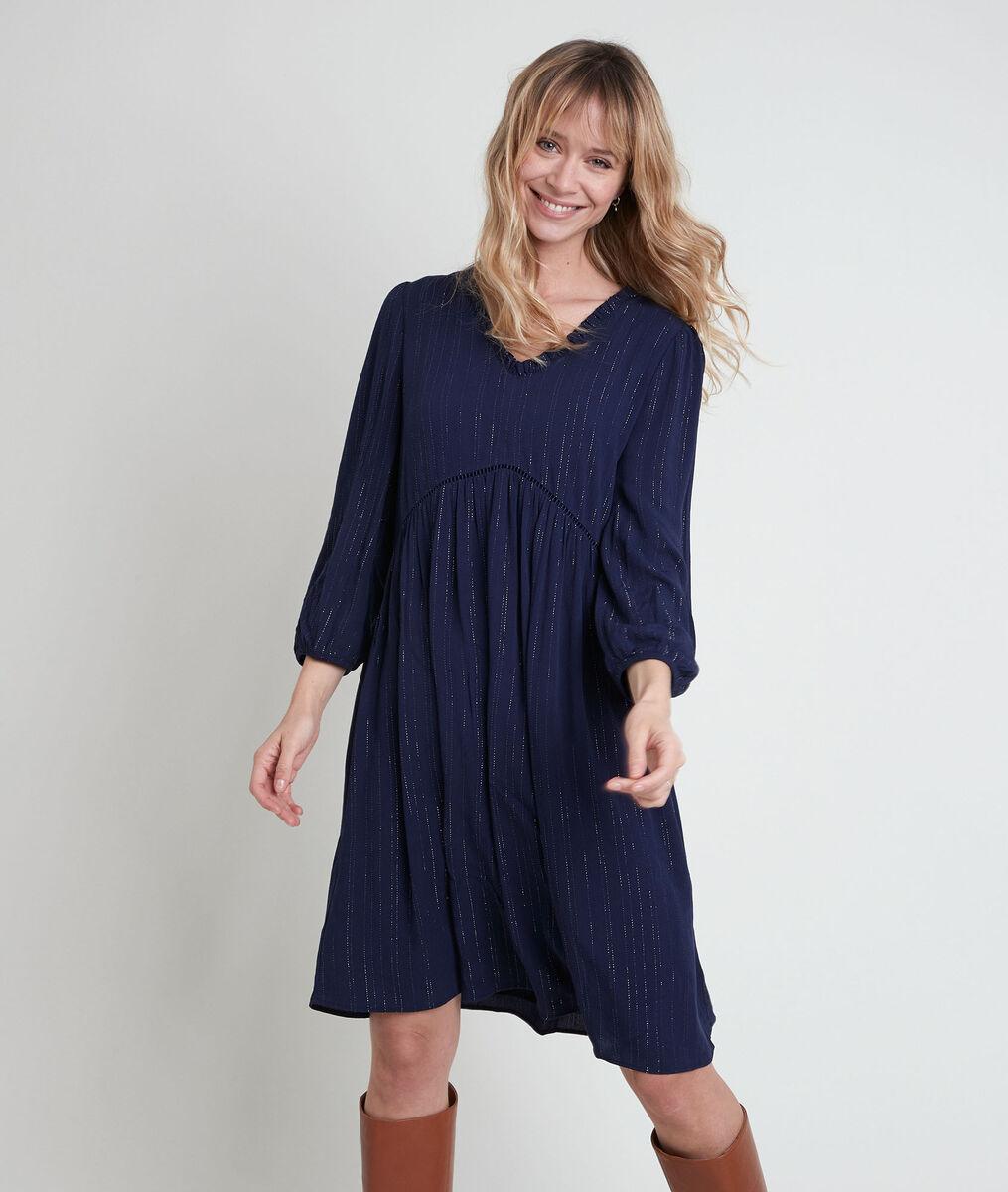 Larissa navy A-line dress in lurex PhotoZ | 1-2-3