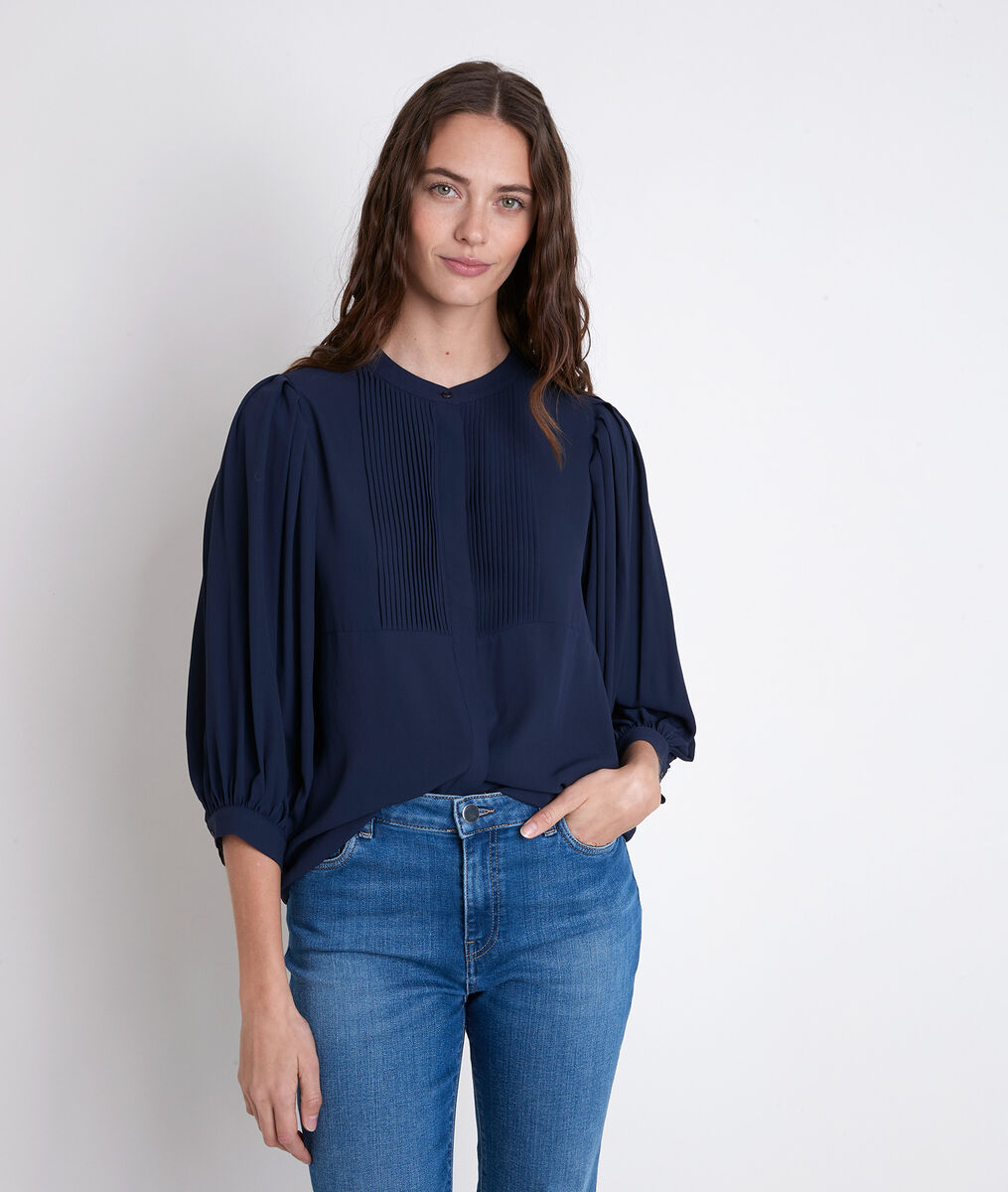 TARIKA navy pleated blouse PhotoZ | 1-2-3