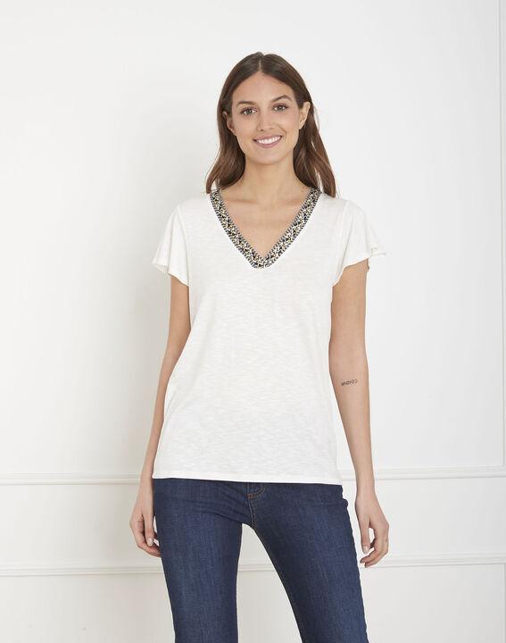 Penelope ecru T-shirt with decorative neck PhotoZ | 1-2-3