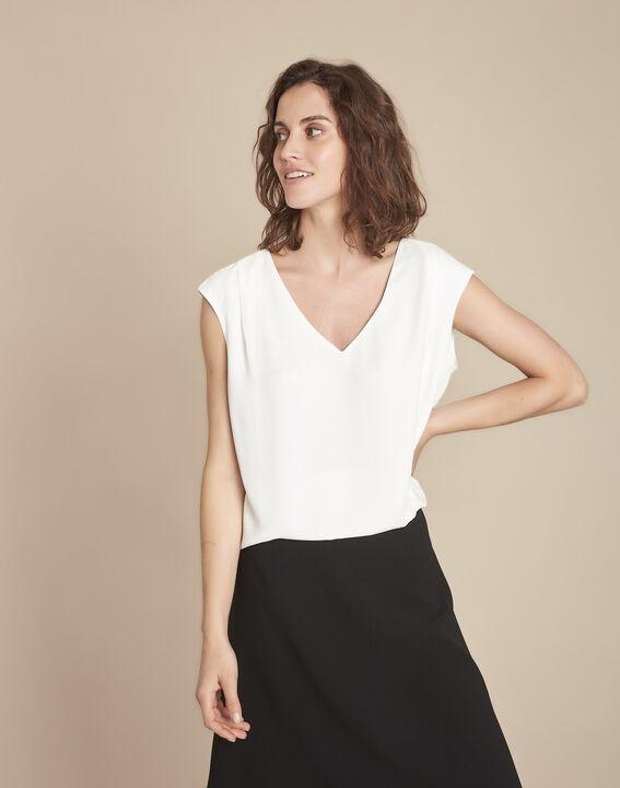 Neptune V-neck beige blouse (1) - Maison 123