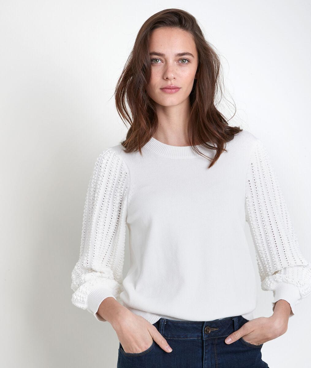 Aube ecru decorative knit jumper PhotoZ | 1-2-3