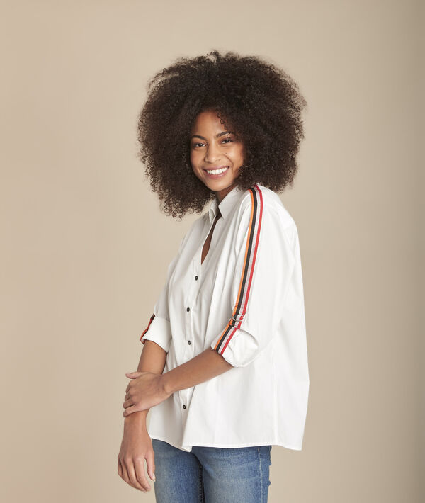 Mauranne white poplin blouse with contrasting braid details PhotoZ | 1-2-3