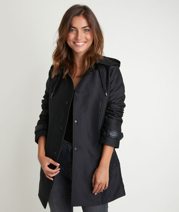 Sakura 3/4-length trench coat with faux leather detailing. PhotoZ | 1-2-3
