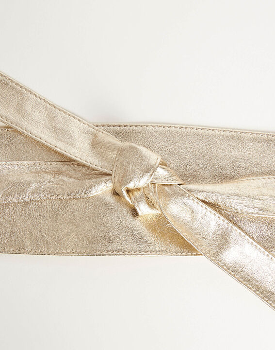 Raul wide tie belt in gold leather (3) - Maison 123