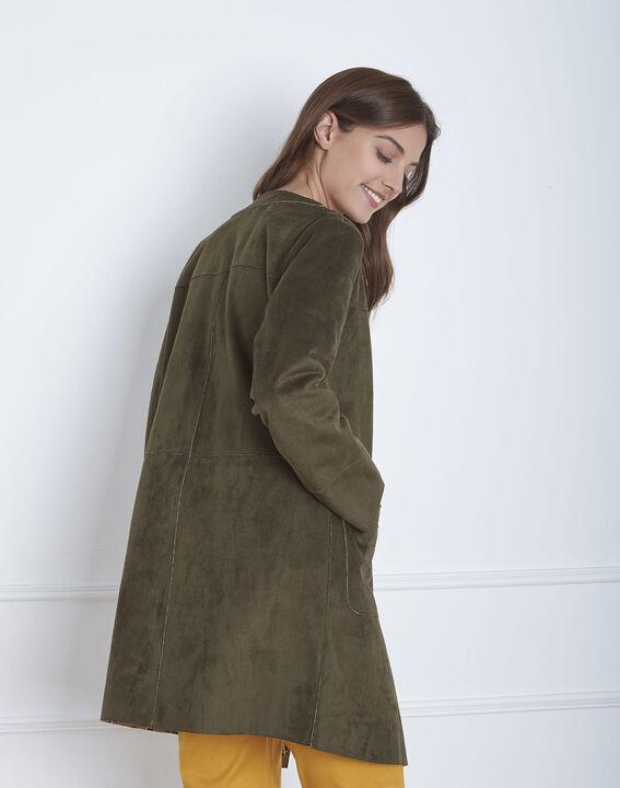 Fabiana khaki leather effect coat (4) - Maison 123