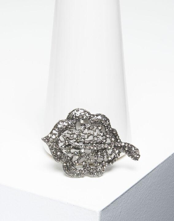 Xav silver leaf brooch with black stones PhotoZ   1-2-3