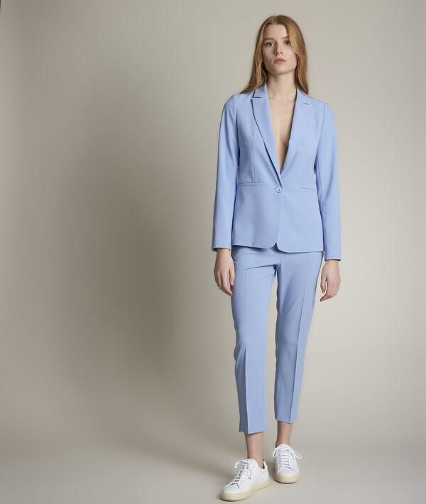 Suzanne sky blue microfibre cigarette trousers PhotoZ   1-2-3