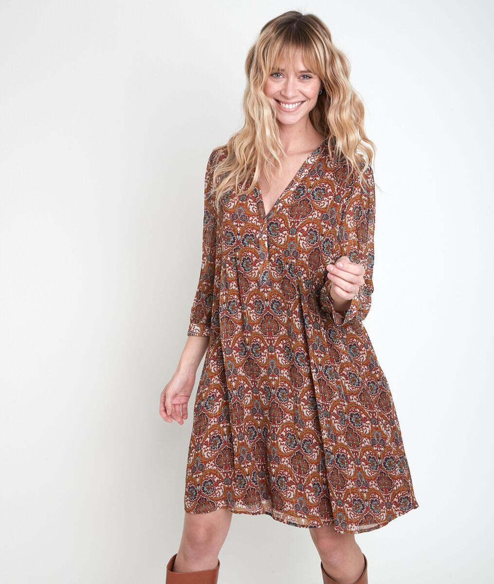 CALYPSO camel-coloured printed dress PhotoZ | 1-2-3