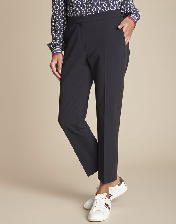 Suzanne navy tailored trousers with horizontal panel (1) - Maison 123