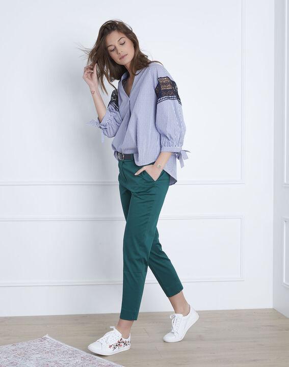Veronique embroidered blue striped blouse (1) - Maison 123