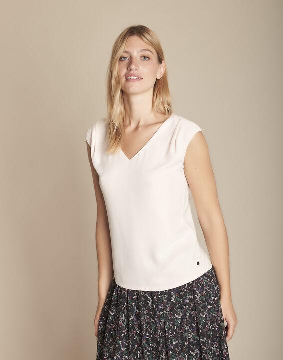 Pale rose bimaterial blouse with  Neptune V-neck (4) - Maison 123