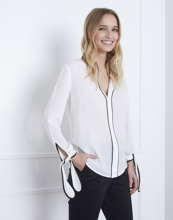 Victoire ecru blouse with contrasting bias PhotoZ | 1-2-3