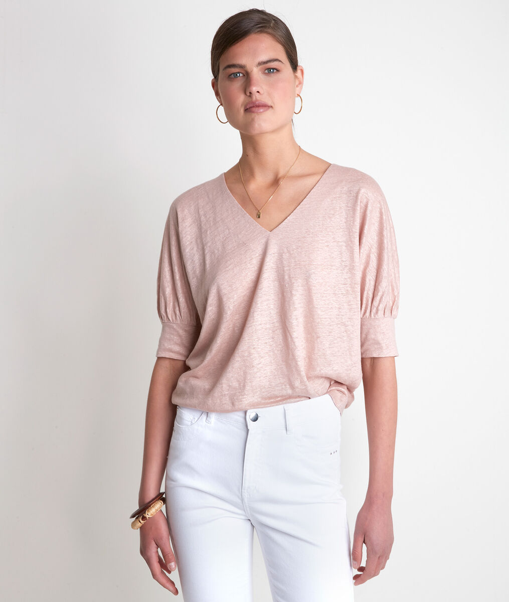 Illusion peach linen T-shirt  PhotoZ | 1-2-3