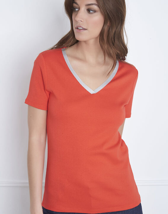 Etincelant red lurex V-neck T-shirt PhotoZ | 1-2-3